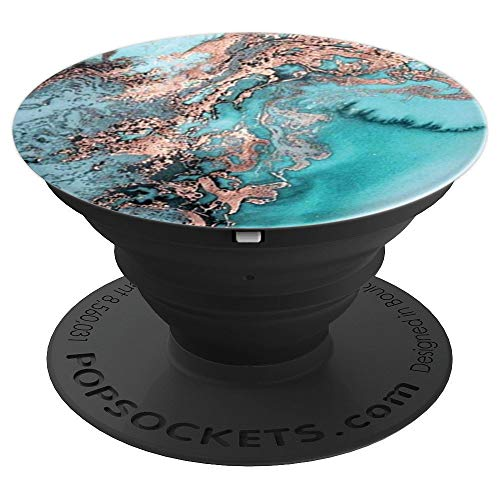 - Teal Rose Gold Marble Print Turquoise Color Phone Accessory - PopSockets Grip and Stand for Phones and Tablets