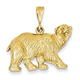 14k Yellow Gold Textured Polar Bear Pendant