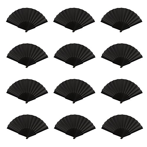 Mcuppe 12 Pack Hand Folding Chinese Fan for Women Nylon Cloth Fabric Fan 9 inch for Performance,Dance,Fighting, Wedding, Church, Party, Gift (Black)