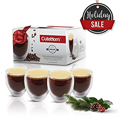 Cutehom Double Espresso Cups - Thermo Wall Coffee Mugs - Set of 4 glasses
