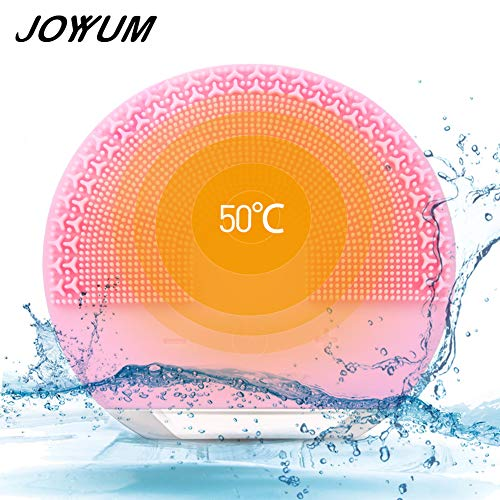 JOYYUM Sonic Facial Cleansing Brush Massager, Silicone Electric Face Cleanser Gentle Exfoliating Scrubber for Normal, Sensitive, Combination Skin, IPX7 Waterproof, USB Rechargeable, Aurora Pink