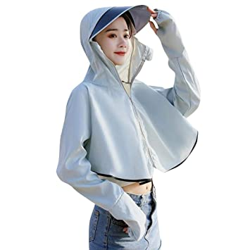 Womens Casual Hooded Sun-protective Coat Anti-UV Top Cycling Jacket Breathable