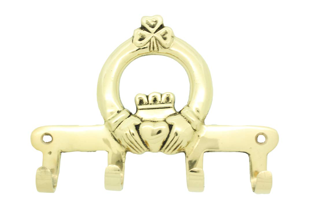 Liffey Artefacts Brass Irish Claddagh Key Rack