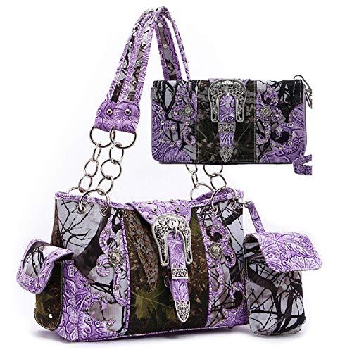 Western origin Camouflage rhinestone Buckle Shoulder Bag Totes Purse Handbag Wallet Set (purple) ()