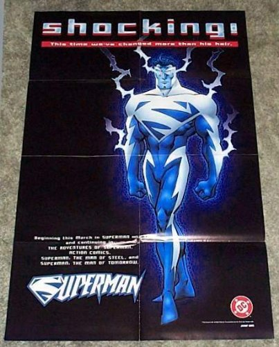 [1997 Superman Shocking Blue Costume DC Comics Store Promo Poster] (90s Comic Costumes)