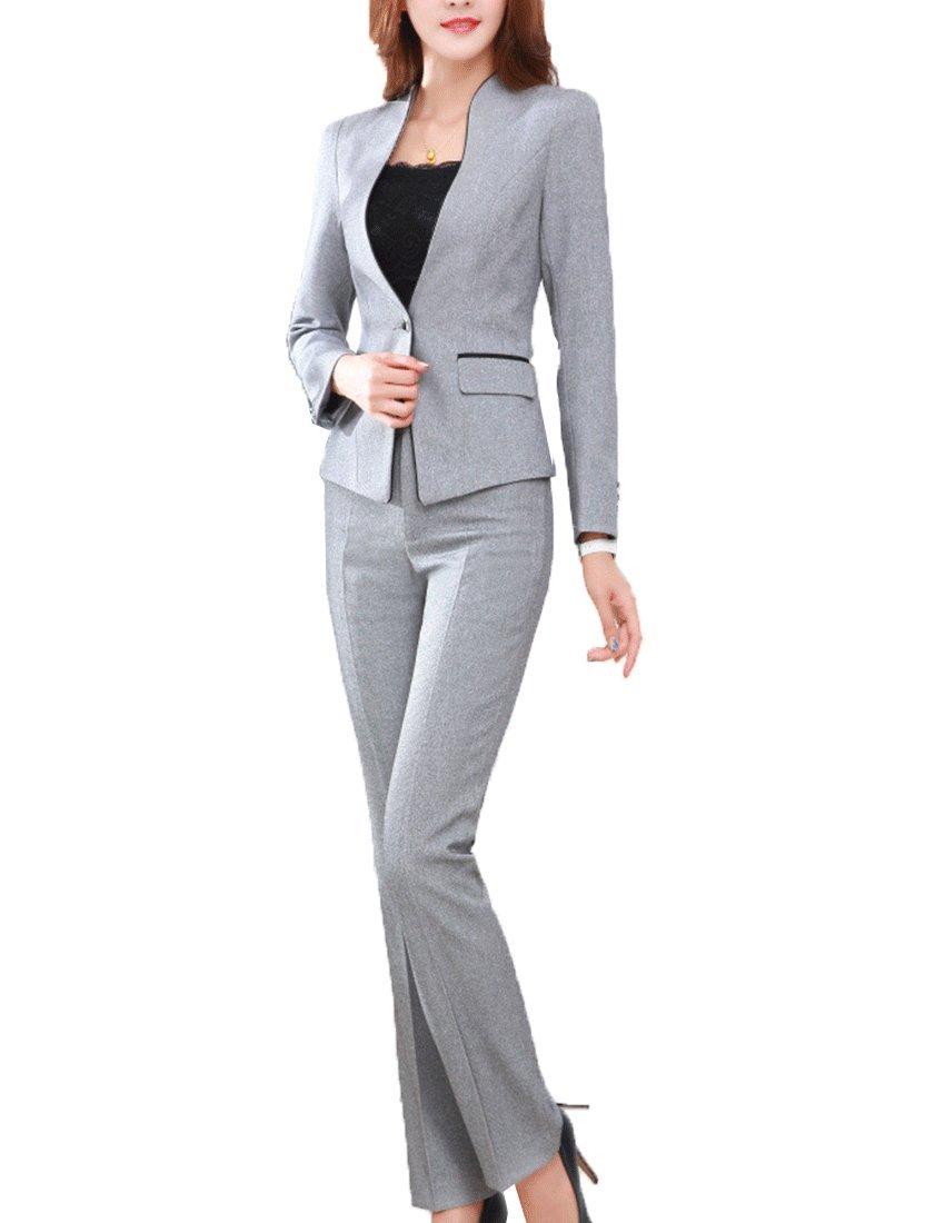 MFrannie Women's Elegant Layer Business OL Coat and Pants Slimming Suit Set Gray-L