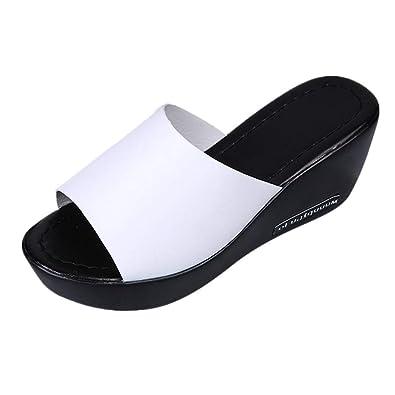 98ab2ff08d33ac ❉Sandales Compensées Femmes Tongs Chaussures Compensées Chaussures De Plage  Mules Chausson Pantoufles été Mode Loisirs