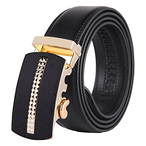 [JINIU Men's Leather Belt Automatic Buckle 35mm Ratchet Dress Black Belts Boxed KT10] (Distressed Leather Buckle)