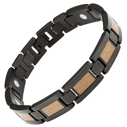 Willis Judd Men's Black Titanium Magnetic Bracelet With Wooden Inserts Adjustable