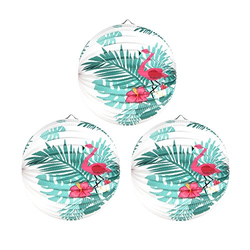 Tropical Summer Party Hanging Paper Accordion Lanterns Pink Flamingo Palm Leaf Wedding Birthday Decoration 3pcs/9.8 Inches SUNBEAUTY (Fuchsia Green) for $<!--$6.99-->