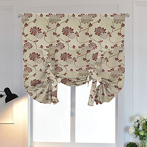 Su-explorer Tie Up Curtains Jacquard Floral Pattern Roman Shades Rod Pocket Tie Up Curtain Shades for Bedroom 46W x 63L 1 Panel