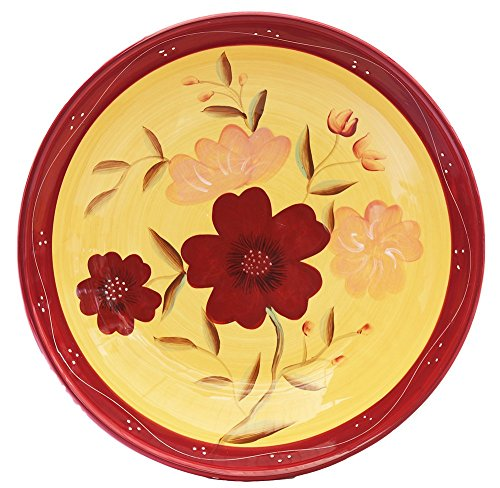 Tuscan Collection English Garden Deluxe Hand-Painted Ceramic Large Pasta Bowl, 84699 by ACK (Collection Tuscan Garden)
