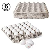 Biodegradable Chicken Egg Flats for Small to Extra-Large Sized Eggs - Holds 30 Eggs Securely, 6 Count