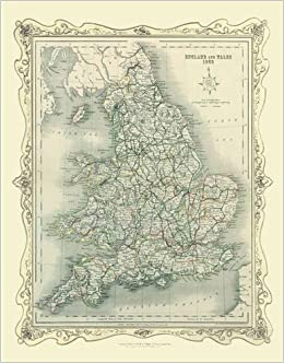 H Collins Map of England and Wales 1852 Colour Photographic Print