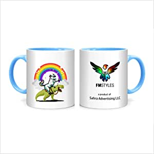 FMstyles Unicorn Riding T-Rex Party Dinosaur - MUG-BLUE-FMS584