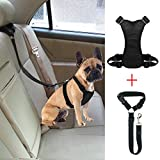 Bwogue Dog Safety Vest Harness With Seat Belt Strap Car Headrest Restraint Pet Dog Adjustable Nylon Mesh Harness Travel Strap Seatbelts Harness
