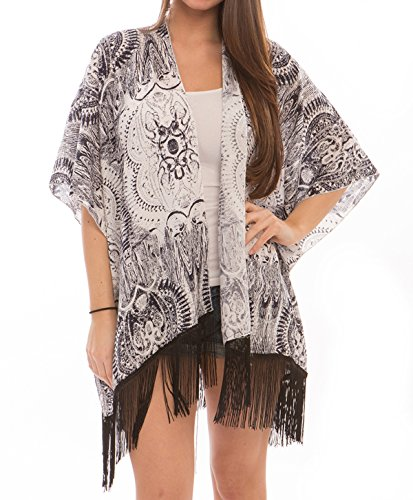 - Women's Fashion Swimwear Cover-Ups Dress Chiffon Kimono Poncho Cardigan with Fringes (309, Tribal Black)