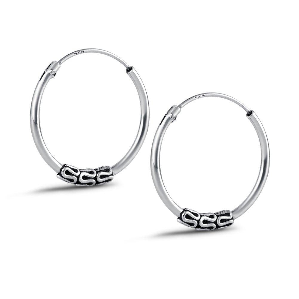 Agvana Sterling Silver Balinese Thin Small Hoop Earrings For Girls Women Girls Diameter 18mm