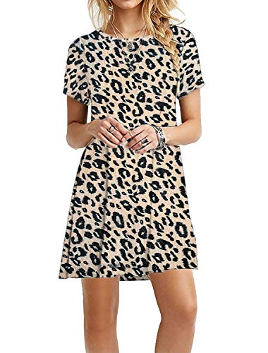 MOLERANI Women's Casual Plain Simple T-Shirt Loose Dress (L, Leopard) ()
