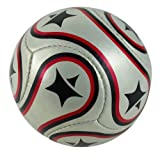 Kids-Junior Size 2 Leather Football-Soccer Ball-Cread-Black-Red-Circ 45cm by StarliteSports
