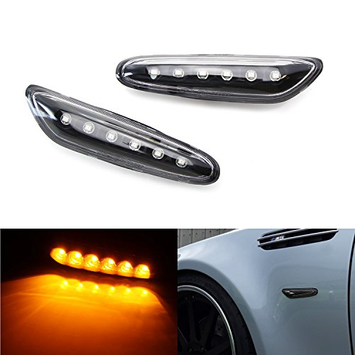- iJDMTOY Euro Black/Clear Lens Amber Full LED Front Side Marker Light Kit For BMW 1 3 5 Series, etc, Replace OEM Amber/Clear Sidemarker Lamps