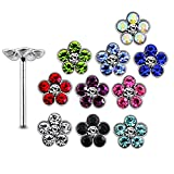 20 Pieces Mix Color Jeweled Flowers 925 Sterling Silver Nose Pin Straight End 20Gx5/16 (0.8x8MM). Pack in Acrylic Box.