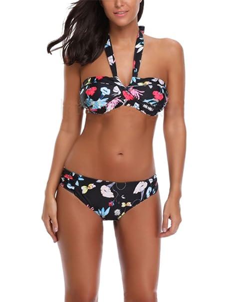 eeb2fc739 Bikini de Mujer de Dos Piezas con Estampado Floral Bikini Set Trajes de baño  Negro Traje de baño: Amazon.es: Ropa y accesorios