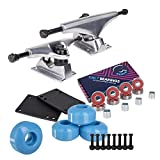Cal 7 5.25 Inch Skateboard Trucks, 52mm Wheels, Plus Bearings Combo Set (Silver Trucks, Baby Blue Wheels)