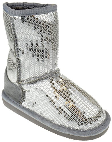 Pom-016KM Little Girls Sequin Slip On Shearling Boots Silver 10