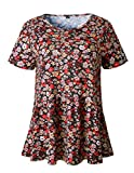 Ray-JrMALL Women Shirts Short Sleeve Floral Print Loose Casual Tunic Tops Blouse T-Shirt Black