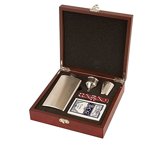 Rock Ridge Flask Set In Presentation Box - Choose Your Style (Stainless Steel/Rosewood Box, 6) by Rock Ridge