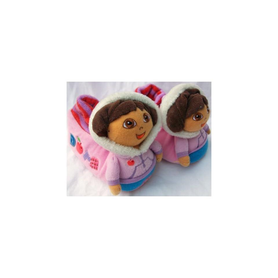 Dora the Explorer Winter Dora, Warm Soft Plush Shoes Slippers, Kid Size 9 10, Great for Halloween Costume