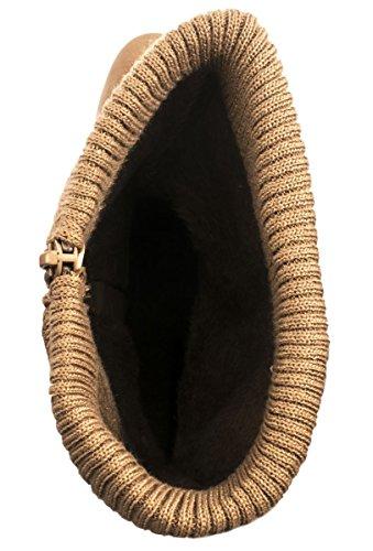 Stiefel Gefüttert Khaki Damen Reiterstiefel Stiefeletten Trichterabsatz Stulpen Trendige Elara wIAx88