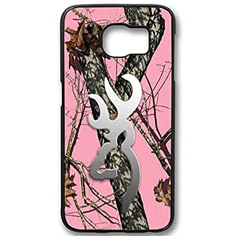 Hoomin Pink Realtree Camo Browning Oak Pink for Samsung Galaxy Case (Samsung Galaxy S6 edge Black) (Browning Cell Phone Cases)