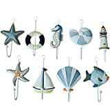 ZZ Lighting Creative Clothes Hook Towel Hat Coat Hangers for Cloakroom/Clothing Shop/Porch Beach Themed Wall Hooks Rustic Wall Decorations Decorative Hanging Hook for Children's Room (9 Hooks)
