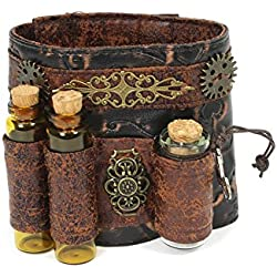 Unisex Faux Leather Steampunk Wristband Cuff With Vials Brown (One Size)