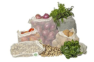 Reusable Mesh Produce Bags made from 100% Organic Cotton - Perfect Reusable Net Vegetable Bags - Environment-friendly, Bio-degradable & Washable Fruit, Vegetable & Produce Bags