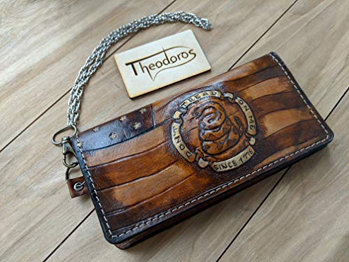 Men's 3D Genuine Leather Wallet, Long Travel wallet, Biker wallet, Hand-Carved, Hand-Painted, Leather Carving, Custom wallet, Personalized wallet, Flag of the United States, Snake, Don't Tread On Me