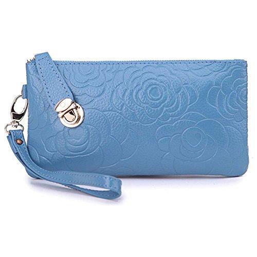 Amazon Prime Deals 2017-Women's Genuine Leather Rose Cell Phone Wristlets Wallet,Welegant Zipper Clutch Purse Bag for iPhone Samsung (Rose Flower, Sky Blue)