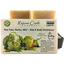 Tea Tree Mint Hair & Body Shampoo Bar. All Natural. Organic Palm Oil. Handmade in the USA. Refreshing, Soothing. For Flake (dandruff)