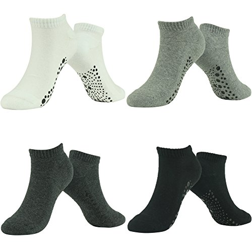 J'colour Womens Mens Unisex Non Slip Yoga Cotton Thick Terry Socks 4 Pairs