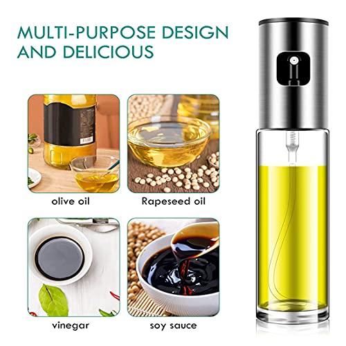 UNIVERSESTAR Olive Oil Sprayer, 100ml Spray Bottle for Baking, Oil Mister Oil Dispenser for Cooking BBQ, Salad, Roasting, Grilling (Silver)