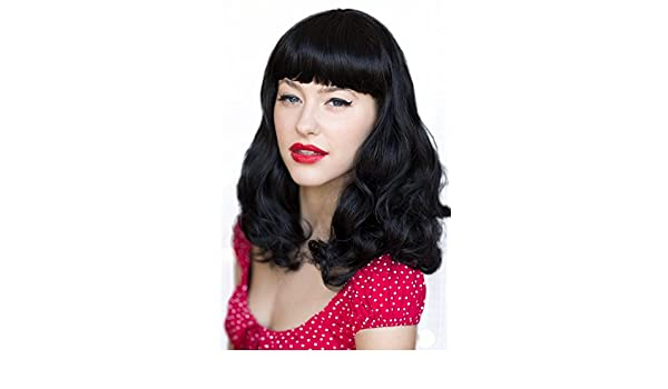 Negro 1950 de estilo retro de Pin Up peluca, rizado con flequillo corto: Bettie: Amazon.es: Belleza