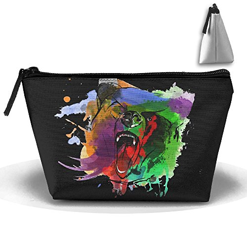 Grizzly Sewing Patterns - GNMB Grizzly Bear Watercolor Design Portable Trip Toiletry Bag Trapezoidal Zipper Travel Receive Bag (Trapezoidal)