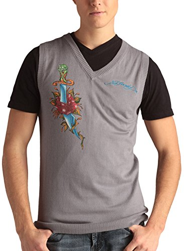 Ed Hardy Mens Snake Eagle V-Neck Vest Sweater - Chrome - Large