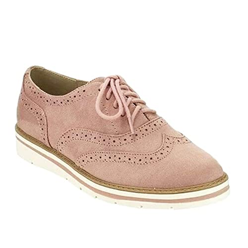 7381116ae6dde Uirend Fashion Suede Brogues Shoes Women - Ladies Pumps Lace Up Flat Ankle Shoes  Brogue Dress