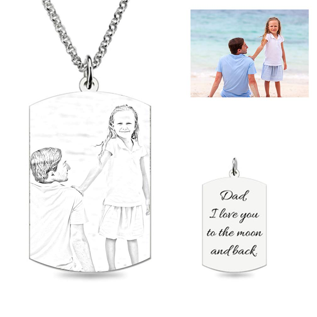 ZHJ8 Private Custom Photo Necklace 925 Sterling Silver Rectangular Necklace Sketch Necklace