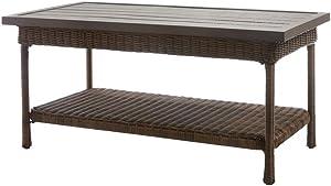 Hampton Bay Beacon Park Wicker Outdoor Coffee Table with Slat Top