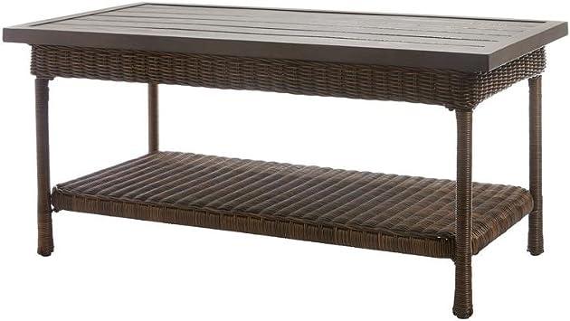 Amazon Com Hampton Bay Beacon Park Wicker Outdoor Coffee Table With Slat Top Furniture Decor