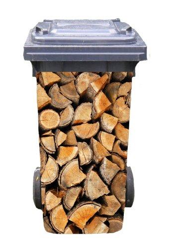 Mülltonnen-Aufkleber Motiv Brennholz 37 cm x 82 cm für 240 l Tonne